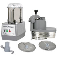 Robot Coupe R401 Combination Continuous Feed / Batch Bowl Food Processor with 4.5 qt. Stainless Steel Bowl - 120V