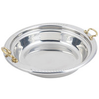 Bon Chef 5455HR 13 inch x 12 inch x 3 inch Stainless Steel 2.5 Qt. Casserole Laurel Design Food Pan with Round Brass Handles