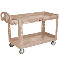 Rubbermaid FG454600BEIG Beige Large Two Lipped Shelf Utility Cart