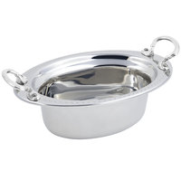 Bon Chef 5303HRSS 13 inch x 9 inch x 5 inch Stainless Steel 3.75 Qt. Full Size Oval Bolero Design Food Pan with Round Stainless Steel Handles