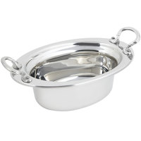 Bon Chef 5203HRSS 13 inch x 9 inch x 5 inch Stainless Steel 3.75 Qt. Full Size Oval Plain Design Food Pan with Round Stainless Steel Handles
