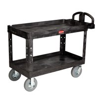 Rubbermaid FG454610BLA Black Large Heavy Duty Two Shelf Utility Cart with Lipped Shelf and Pneumatic Wheels