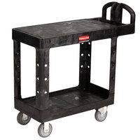 Rubbermaid FG450500BLA Black Small Two Flat Shelf Utility Cart