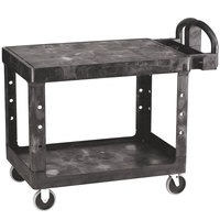 Rubbermaid FG452500BLA Black Medium Two Flat Shelf Utility Cart