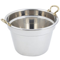 Bon Chef 5214HR 12 inch x 8 inch Stainless Steel 11 Qt. Plain Design Soup Tureen with Round Brass Handles