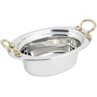 Bon Chef 5203HR 13 inch x 9 inch x 5 inch Stainless Steel 3.75 Qt. Full Size Oval Plain Design Food Pan with Round Brass Handles