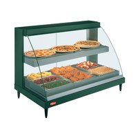 Hatco GRCDH-3PD Glo-Ray Two Shelf Full Service Heated Display Case with Curved Glass and Bottom Shelf Humidity - 45 1/2 inch