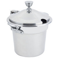 Bon Chef 5211CHRSS 10 5/8 inch x 8 1/4 inch Stainless Steel 7 Qt. Plain Design Soup Tureen with Chrome Accents and Round Stainless Steel Handles