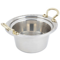 Bon Chef 5650HR 10 inch x 9 inch x 5 inch Stainless Steel 2 Qt. Arches Design Casserole with Round Brass Handles
