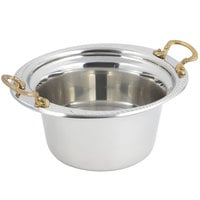 Bon Chef 5450HR 10 inch x 9 inch x 5 inch Stainless Steel 2 Qt. Casserole Laurel Design Food Pan with Round Brass Handles