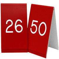 Cal-Mil 271B-1 Red Engraved Number Tent Sign Set 26-50 - 3 1/2 inch x 5 inch