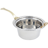 Bon Chef 5660HL 12 inch x 12 inch x 6 inch Stainless Steel 5 Qt. Arches Design Casserole Food Pan with Long Brass Handle