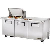 True TSSU-72-12M-B 72 inch Mega Top Three Door Sandwich / Salad Prep Refrigerator