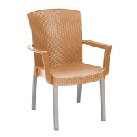 Grosfillex Havana Classic Stacking Resin Armchair - Tobacco