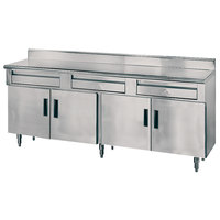 Advance Tabco HDRC-308 30 inch x 96 inch 14 Gauge Enclosed Base Stainless Steel Work Table with 3 Drawers, 4 Hinged Doors and 5 inch Backsplash