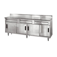 Advance Tabco SDRC-306 30 inch x 72 inch 14 Gauge Enclosed Base Stainless Steel Work Table with 2 Drawers, 4 Sliding Doors and 5 inch Backsplash