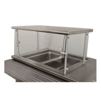 Advance Tabco Sleek Shields NSGC-12-144 Cafeteria Food Shield with Stainless Steel Shelf - 12 inch x 144 inch x 18 inch