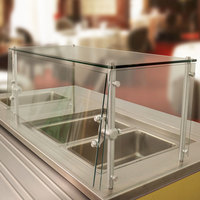 Advance Tabco Sleek Shield GSGC-15-132 Cafeteria Food Shield with Glass Top - 15 inch x 132 inch x 18 inch