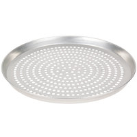 American Metalcraft TDEP14SP 14 inch x 1 inch Super Perforated Tin-Plated Steel Tapered / Nesting Deep Dish Pizza Pan