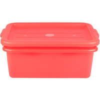 Vollrath 1507-C02 20 inch x 15 inch x 7 inch Red Polypropylene Food Storage Combo Set with Standard Lid