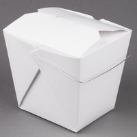 Fold-Pak 64WHWHITEM 64 oz. White Chinese / Asian Paper Take-Out Container with Wire Handle - 200 / Case