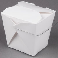 Fold-Pak 32WHWHITEM 32 oz. White Chinese / Asian Paper Take-Out Container with Wire Handle - 500 / Case