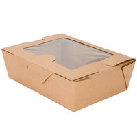 Kraft Bio-Plus View 03BPVWERTM 8 inch x 6 inch x 2 1/2 inch Microwavable Paper #3 Take-Out Container 160 / Case