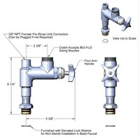 T&S B-0286-LN-EZ Big Flo Easy Install Add On Faucet Base with 4 Arm Handle