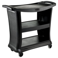 Rubbermaid FG9T6800BLA Black Executive Three Shelf Bussing Cart