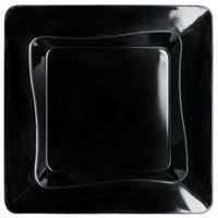 Fineline Tiny Temptations 6200-BK 3 inch x 3 inch Tiny Trays Disposable Black Plastic Tray   - 10/Pack