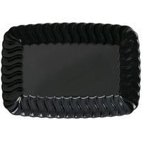 Fineline Flairware 257-BK Black 5 inch x 7 inch Plastic Snack Tray - 18/Pack