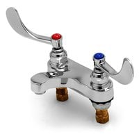 T&S B-0890-CR Deck Mount Medical Mixing Faucet with 4 inch Centers, 4 inch Wrist Action Handles, and Cerama Cartridges