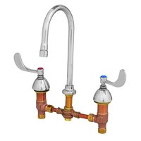 T&S B-0867-04 Deck Mount Mixing Faucet with 8 inch Adjustable Centers, 10 11/16 inch Gooseneck, and 4 inch Wrist Action Handles