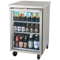 Beverage Air BB24GF-1-S-LED 24 inch Stainless Steel Food Rated Glass Door Back Bar Cooler - 7.8 Cu. Ft.