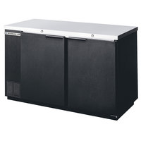 Beverage Air BB58F-1-B 58 inch Black Food Rated Solid Door Back Bar Cooler with Two Doors - 23.8 Cu. Ft.