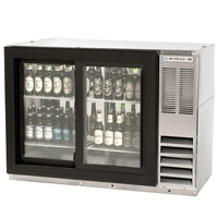 Beverage Air BB48GSYF-1-S-PT 48 inch Food Rated Pass-Through Sliding Glass Door Back Bar Refrigerator - Stainless Steel