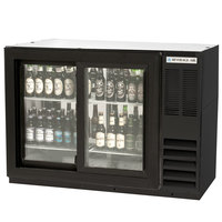 Beverage Air BB48GSYF-1-B-PT 48 inch Food Rated Pass-Through Sliding Glass Door Back Bar Refrigerator - Black