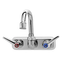 T&S B-1146-01A Wall Mount Workboard Faucet with 4 inch Centers, 5 inch Gooseneck, Escutcheon, Aerator, and Tailpieces