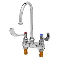 T&S B-0892-133X Deck Mount Centerset Mixing Faucet with 4 inch Centers, 12 3/16 inch Gooseneck, 4 inch Wrist Action Handles, and Eterna Cartridges
