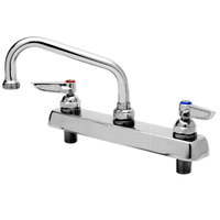 T&S B-1124 Deck Mount Mixing Faucet with 8 inch Centers, 12 inch Swing Nozzle, Escutcheon, and Tailpieces