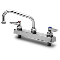 T&S B-1120-04 Deck Mount Workboard Faucet with 8 inch Centers, 12 inch Gooseneck, Escutcheon, 4 inch Wrist Action Handles, and Tailpieces