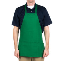Choice Kelly Green Full Length Bib Apron with Pockets - 25 inchL x 28 inchW