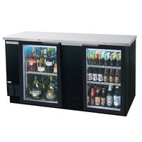 Beverage Air BB68GF-1-B 68 inch Black Food Rated Glass Door Back Bar Cooler with Two Doors - 28.4 Cu. Ft.