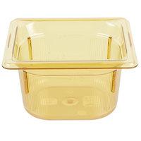 Vollrath 9064410 1/6 Size Amber High Heat Food Pan - 4 inch Deep