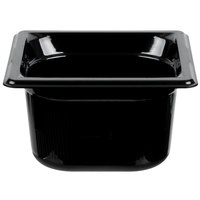 Vollrath 9064420 1/6 Size Black High Heat Food Pan - 4 inch Deep