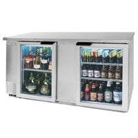 Beverage Air BB68GF-1-S-LED 68 inch Stainless Steel Food Rated Glass Door Back Bar Cooler with Two Doors - 28.4 Cu. Ft.
