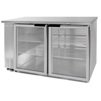 Beverage Air BB58GF-1-S-LED 58 inch Stainless Steel Food Rated Glass Door Back Bar Cooler with Two Doors - 23.8 Cu. Ft.