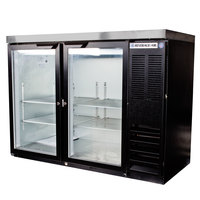 Beverage Air BB48GYF-1-B-27-LED 48 inch Back Bar Refrigerator with Black Exterior, 2 Glass Doors, and Stainless Steel Top - 115V