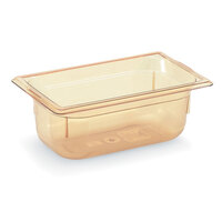 Vollrath 9042410 1/4 Size Amber High Heat Food Pan - 2 1/2 inch Deep