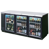 Beverage Air BB72GYF-1-B 72 inch Back Bar Refrigerator with Black Exterior and 3 Swinging Glass Doors - 115V